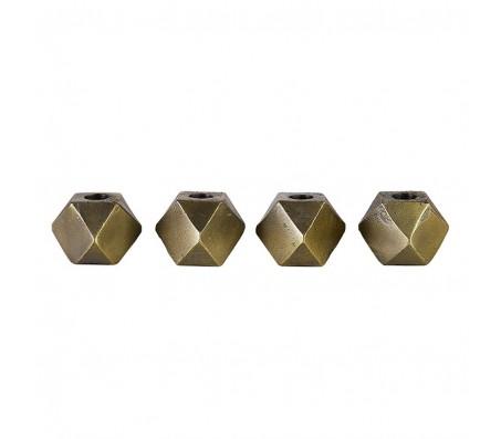 Подсвечники латунные «Хексагон» М сет из четырех