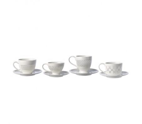 Кружевные чашки с блюдцами, сет из четырех