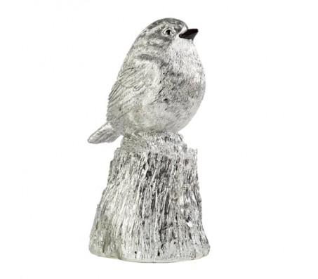 Декоративная птица серебряная L