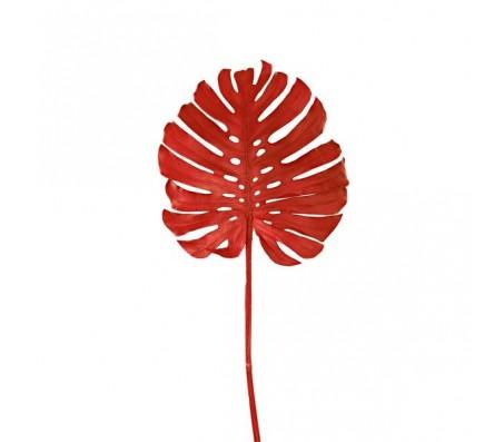 Декоративный лист монстеры ,красный