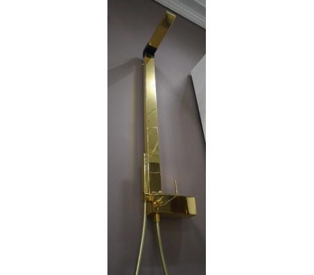 Душевая стойка HeyJoe IB Rubinetterie (Италия) с ручным и верхним душем, золото