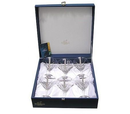 Набор из 6 бокалов для мартини с кристаллами Swarovski Bianco Chinelli