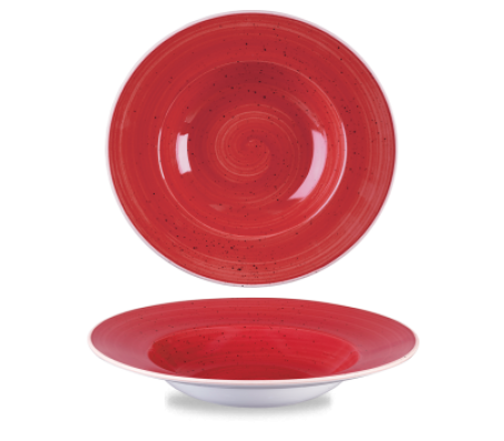 Churchill Stonecast Berry Red profile Wide Rim Bowl
