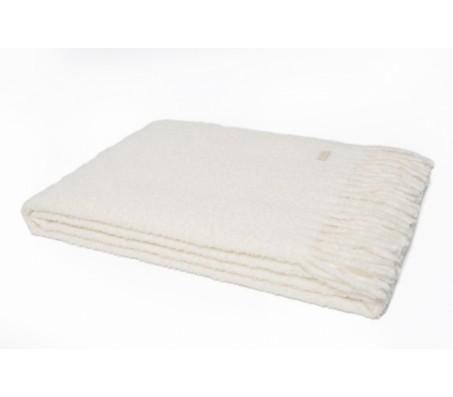 Плед из шерсти альпака (Перу) - Plaide Boucle - 140x200cm white