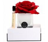 Ароматический диффузор красная роза в белом кубе из стекла Herve Gambs + духи Bois de cashmere 10мл