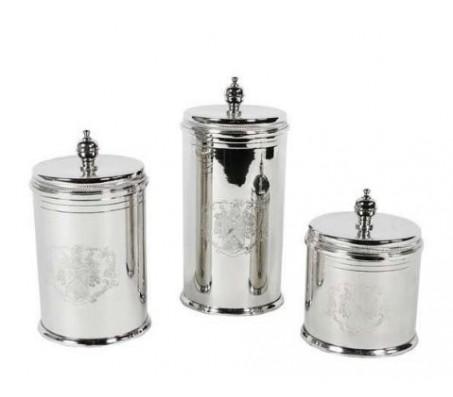 Набор для хранения печенья Eichholtz Biscuit Box Set Of 3 из 3-х предметов никель